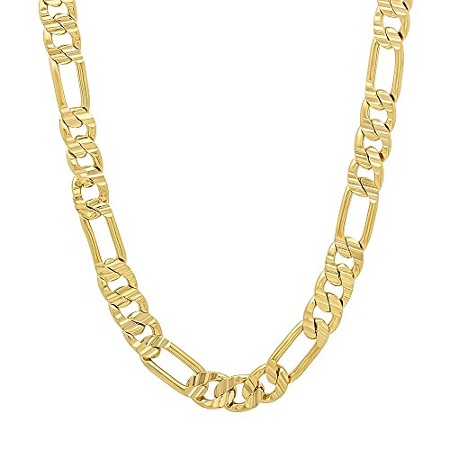 (The Bling Factory 6mm 14k Gold Plated Grooved Figaro Link Chain Necklace, 16