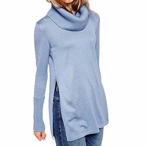 QIYUN.ZManga Larga De Las Mujeres Con Cuello Chal Tapas Cortó Suéteres Azules Con Estilo Jersey