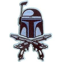 Star Wars / Clone Wars Lucas Films Movie Embroidered Iron On Patch - Jango Fett Bounty Hunter Crossed Pistols SW47