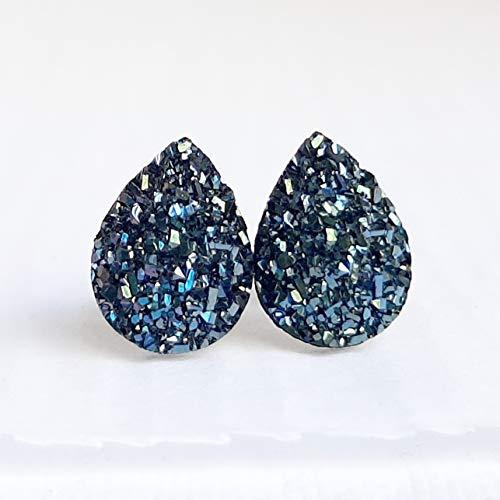 Midnight Blue Tear Drop Resin Druzy on Titanium Stud Earrings - Hypoallergenic Posts