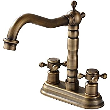 Vintage Centerset Antique Brass Finish Inch Widespread Bathroom - Dark bronze bathroom faucets