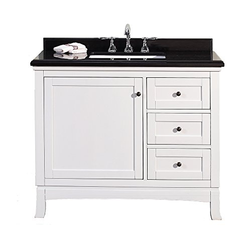 Black Granite Top Set - Ove Decors Sophia 42 Vanity with Black Granite Countertop and 20