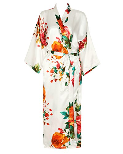 - Zarachilable Women 's Long Kimono Robe Floral Bridesmaid Robe,Bridal Robe (one Size, White)