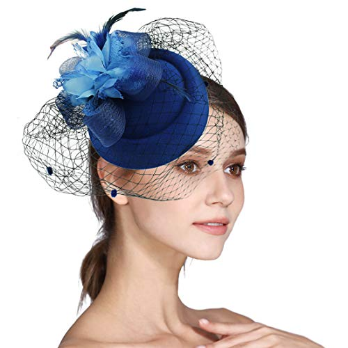 - Sinamay Fascinator Flower Feather Fascinators for Women Pillbox Hat for Royal Wedding Deryby Party