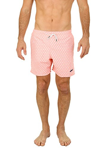 [Uzzi Men's Malibu Swim Trunks Coral 2XL] (Pink Man Suit)