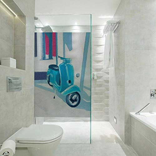 (RWNFA Covering Privacy Film Shower Window Cling,Mini Scooter in a Soft Mediterranean Mid Day Light Italian Town Life Symbol Art Paint,Customizable Size,Suitable for Bathroom,Door,Glass etc,Blue Grey)