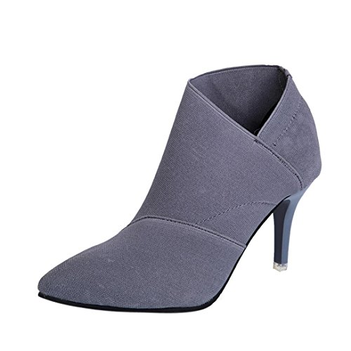 Colorful TM Fashion Women Point Toe High-Heeled Boots Autumn Winter Fitted Women Single Shoes Gray