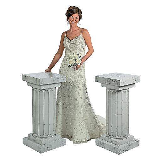 Used, Marble-Look Fluted Columns - Set of 2 ,  3 Foot Tall for sale  Delivered anywhere in USA