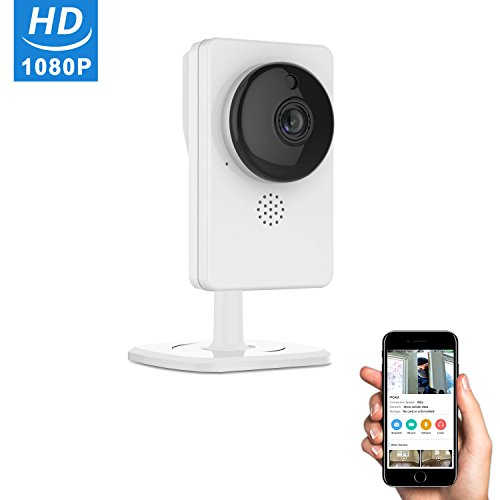 1080p HD WIFI Security Camera - Wide Angle Panorama (190°) Video Monitoring IP Camera, Wireless WIFI Home Security Surveillance System with Two-way Audio, Motion Detection, Night Vision, Auto Cruise ...