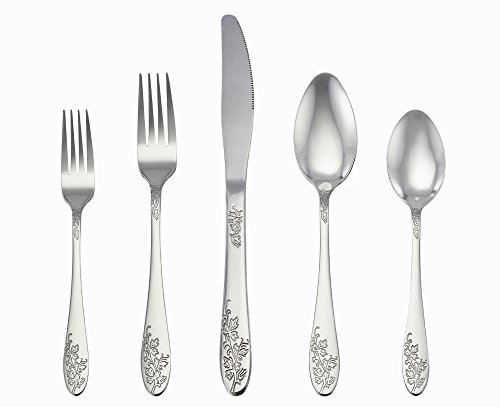 LIANYU 20-Piece Silverware Set, Stainless Steel Flatware Cutlery Set, Service for 4, Mirror Finish & Elegant Patterns - Dishwasher Safe (Desserts Non Traditional Christmas)