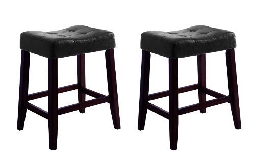 Crown Mark 2787 Kent Saddle Chair, Black, 2 Per (Red Saddle Seat Bar Stool)