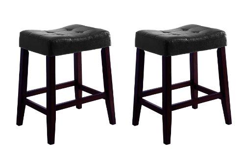 (Crown Mark 2787 Kent Saddle Chair, Black, 2 Per Box)