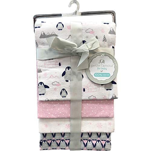 Petite L'amour 4-Pack Flannel Receiving Blankets - Pink -
