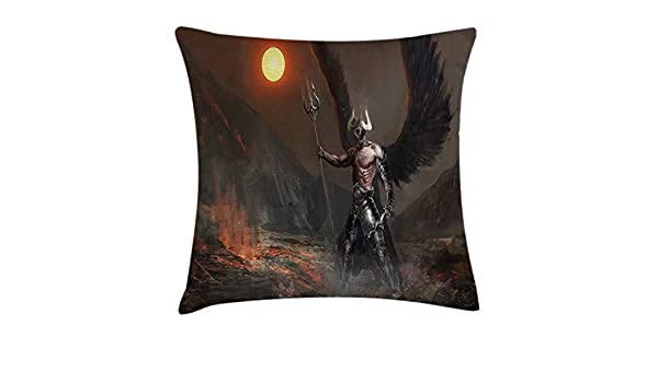 Fantasy World Throw Pillow Cushion Cover, Knight with Wings ...
