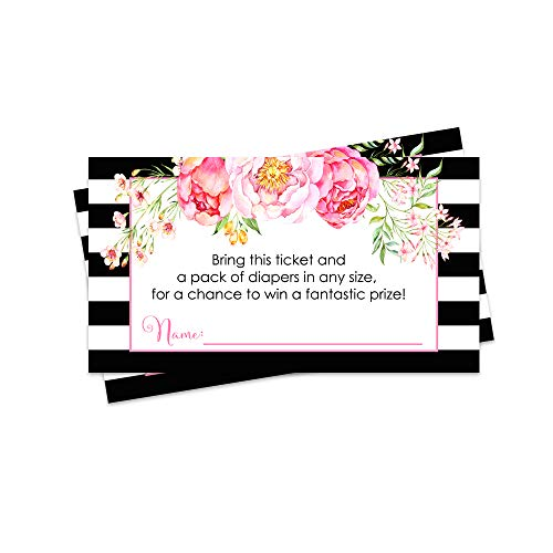 Girls Diaper Raffle Ticket - Pack of 25 - Baby Shower Game - Black Stripe and Floral