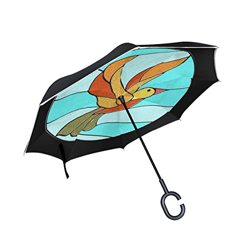 YUMOING Double Layer Inverted Bird Circle Icons Duck Stained Glass T-shirts Umbrellas Reverse Folding Umbrella Windproof Uv Protection Big Straight Umbrella For Car Rain Outdoor With C-shaped ()