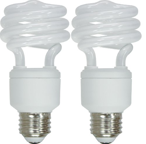 GE Lighting 72875 Energy Smart Spiral CFL 20-Watt (75-watt replacement) 1250-Lumen T2 Spiral Light Bulb with Medium Base, 2-Pack ()