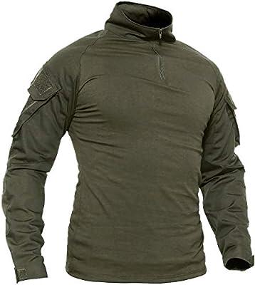 TACVASEN - Camiseta de manga larga con bolsillos para hombre, estilo militar, camuflaje, Otoño-Invierno, Manga Larga, Hombre, color Ejercito Verde, tamaño XL: Amazon.es: Deportes y aire libre