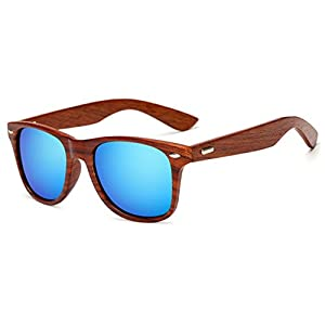 LongKeeper Wood Sunglasses for Men Women Vintage Real Wooden Arms Glasses (Brown, Blue)