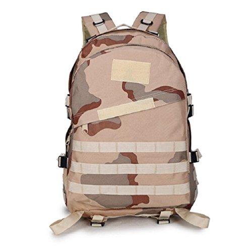Z&N Backpack Mochila militar camping al aire libre alpinismo deportes hombros mochila de camuflaje mochila táctica militar hombres y mujeres de gran capacidad 40L portátil al aire librecp40L Three sand