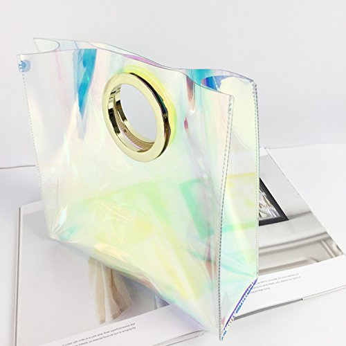 Runway Clear Circle Transparent Handbag 2 Hologram Handle Cable Bag Shopper PVC Large Mogor Tote P5qwzByfw