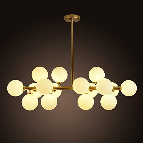 Gold Ball Glass Light (16 Lights Modo Glass Ball Chandeliers Light Gold Finish Fixture Light, Nordic Magic Beans Molecular Ceiling Light for Living/Dining Room Study Bedroom)