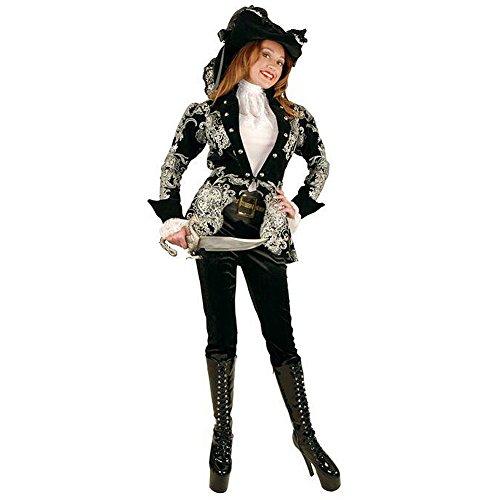 Women's Black & Silver Elegant Pirate Lady Costume Small 3-5