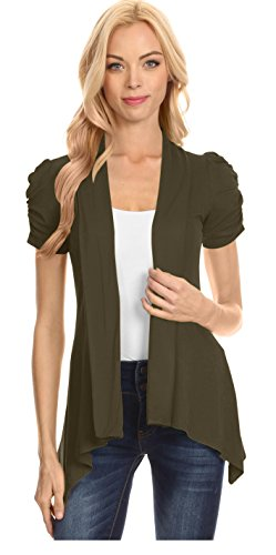 Womens Short Sleeve Cardigan Open Front Ruched Sleeve Asymmetric Flyaway Cardigan - USA Olive Large