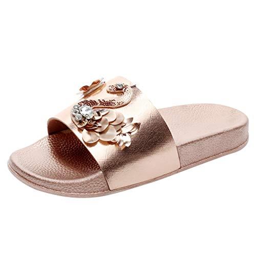 (YKARITIANNA Women's Ladies Sequins Bling Swan Outdoor Flat Beach Sandals Shoes Slippers 2019 Summer Rose Gold)