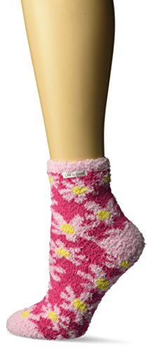 Life is Good Women's Snuggle Crew Daisy Pattern Athletic Socks, Fiesta Pink, One Size Snuggle Socks