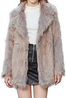 HhGold Abrigo de Abrigo para Mujer Parka Moda para Mujer Cuello de Piel sintética de Zorro de Invierno Cálido Abrigo de Manga Larga Abrigos Tops Abrigo de ...