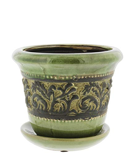 Lucky Winner Green Ceramic Planter with Trellis Pattern and Attached Saucer, ()