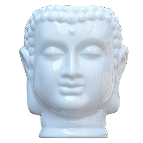 JynXos White Buddha Head Ceramic Flower Pots & Planters