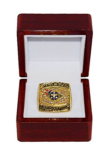 TENNESSEE TITANS (Jevon Kearse) 1999 AFC WORLD CHAMPIONS (Super Bowl XXXIV) Rare & Collectible Replica National Football League Gold NFL Championship Ring with Cherrywood Display Box (Tennessee Titans Display)