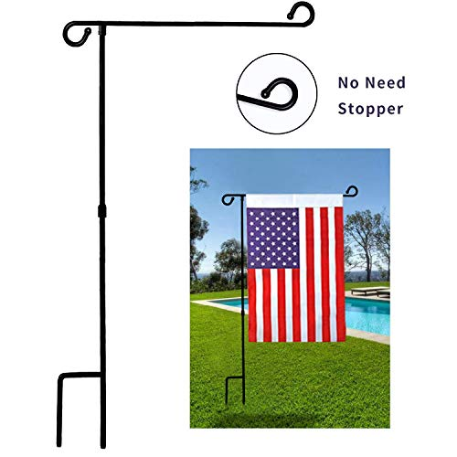 - MAXZONE Garden Flag Stand Banner Flagpole, Black Wrought Iron Yard Garden Flag Pole - Holds Flags up to 12.5