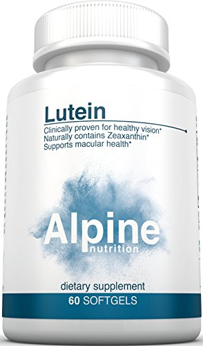 Alpine Nutrition Lutein 20mg with Zeaxanthin - 60 Count Softgel Eye Vitamins for Vision Health