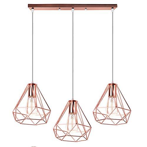 Lámpara Colgante Retro Vintage de Diamante Estilo Nórdico Lámpara de Techo Interior 3 luces Araña iluminación Dormitorio…