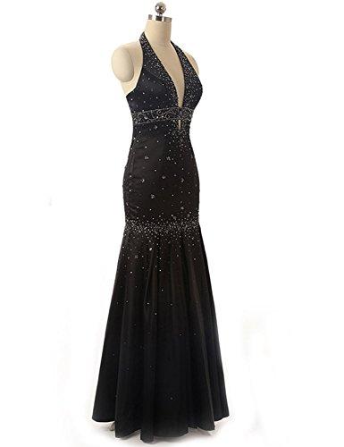 Sarahbridal Women's Halter Taffeta Porm Dresses Long Formal Evening Ball Gowns Black US6 Beading Taffeta Wedding Dress