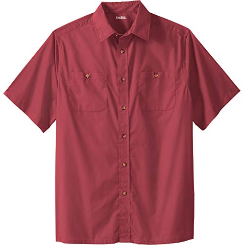 (KingSize Men's Big & Tall Short Sleeve Solid Sport Shirt, True Red Big-2XL)