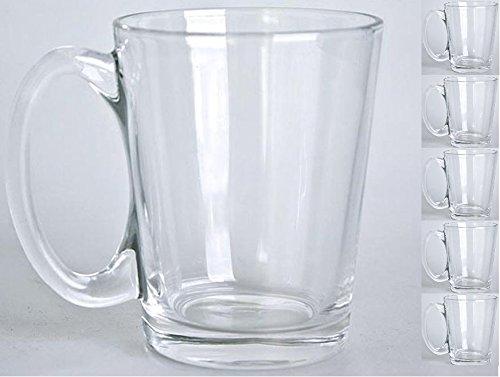 Coffee/Tea Ultaclear High Quality Glass Mugs set of 6 (9 Ounces)