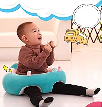 Blue Baby Support Seat Sofa Plush Soft Animal Shaped Baby Learning to Sit Chair Keep Sitting Posture Comfortable Infant Sitting Chair for 3-16 Months Baby