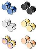 Thunaraz 6 Pairs Stainless Steel Stud Earrings for Men Women Ear Piercing Plugs Tunnel Punk Style
