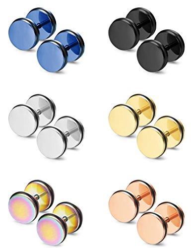 Thunaraz 6 Pairs Stainless Steel Stud Earrings for Men Women Ear Piercing Plugs Tunnel Punk Style - Fake Plugs Earrings