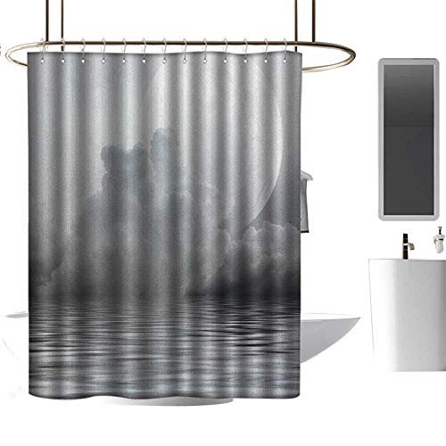 Qenuan Polyester Shower Curtain Moon,Misty Air in The