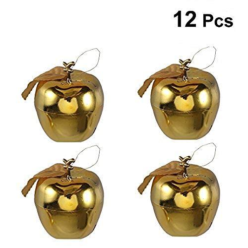 TINKSKY Christmas Tree Pendant 6cm Glitter Apple Decoration Ornaments for Festival Hanging Xmas Tree Decor Holiday Wedding Party Decor 12pcs (Golden) (Cheap Apple Ornaments)