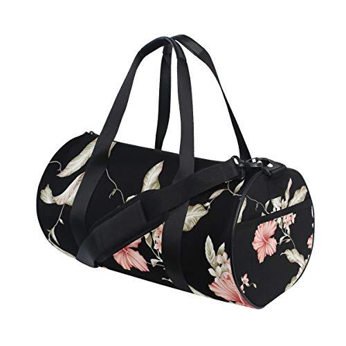 OuLian Duffel Bag Black Flower Pattern Women Garment Gym Tote Bag Best Sports Bag for Boys