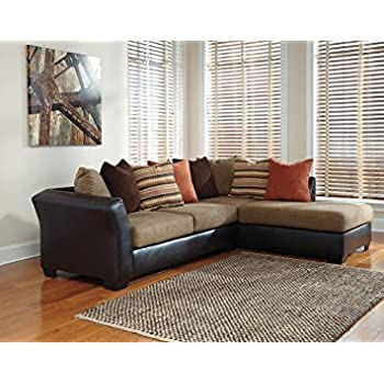 Armant 202021766 Sectional Sofa with Right Arm Corner Chaise Left Arm Sofa and Eight Pillows Included in Mocha