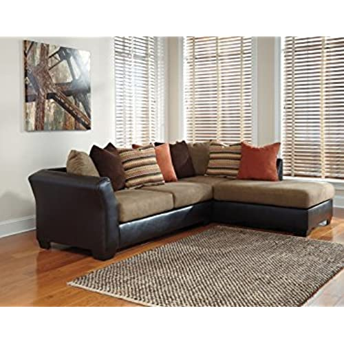 Armant 202021766 Sectional Sofa With Right Arm Corner Chaise Left Arm Sofa  And Eight Pillows Included In Mocha. By Ashley Furniture