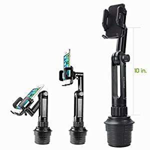 Cellet Universal Smartphone 360 Adjustable Cup Holder Mount, Hands Free Automobile Cradle Compatible with Apple iPhone Xs Max XR 8 Plus, Galaxy S10 S10e S10Plus, S9 S9Plus Note 9, GPS. (PH650)