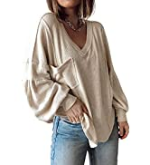 BTFBM Women's Casual V Neck Ribbed Knitted Shirts Pullover Tunic Tops Loose Balloon Sleeve Solid ...